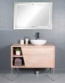 REVE VANITY | WITH TWO DRAWERS AND TWO OPEN SHELVES WITH METAL BASE