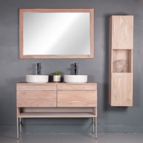JADE VANITY | WITH FOUR DRAWERS AND ONE OPEN SHELF WITH METAL BASE